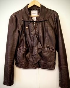 Faux Brown Leather Bomber Jacket